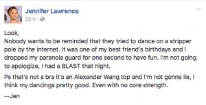 Publicación de Jennifer Lawrence en Facebook