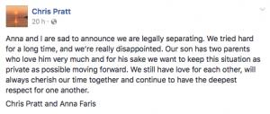 Chris Pratt y Anna Faris se separan