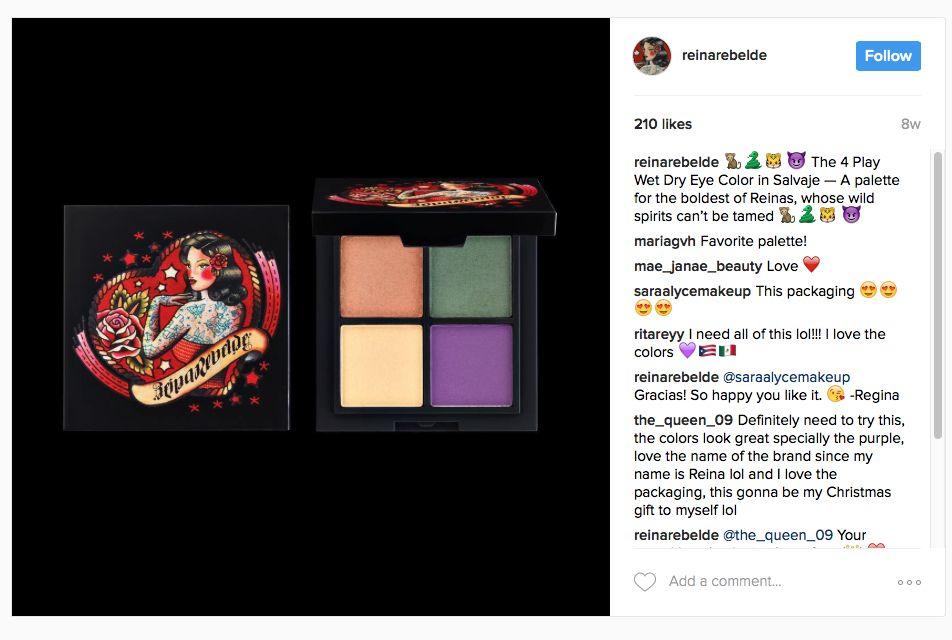 Paleta de sombras de ojos. Una foto publicada por REINA REBELDE en Instagram.