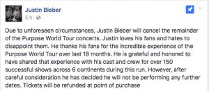 Justin Bieber cancela su gira mundial