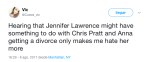 Jennifer Lawrence culpable del divorcio de Chris Pratt