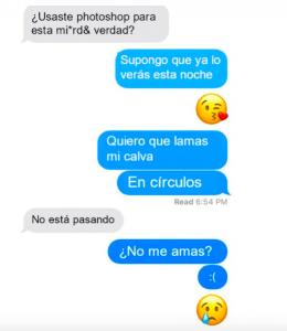 Chica bromea a su novio