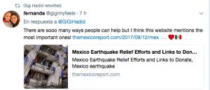 Gigi Hadid ayuda tras terremoto en México