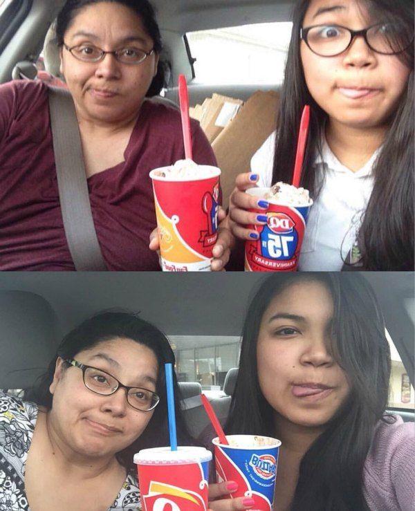chica se tomó una foto con su mamá por años
