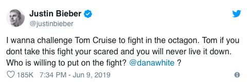 Justin Bieber retó a Tom Cruise a una pelea