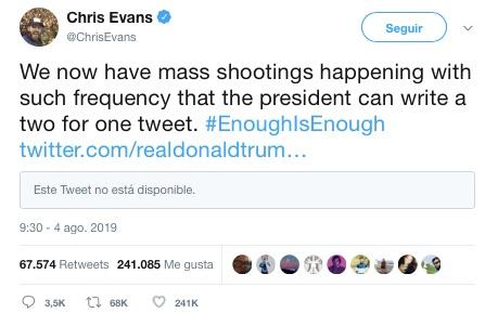 Chris Evans culpa a Donald Trump por el tiroteo